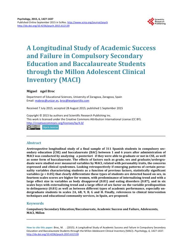 A longitudinal Study of Academic Success and Failure in Compulsory Secondary Education and Baccalaureate Students through the Millon Adolescent Clinical Inventory (MACI)