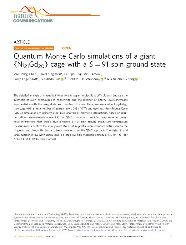 Quantum Monte Carlo simulations of a giant {Ni21Gd20} cage with a S = 91 spin ground state