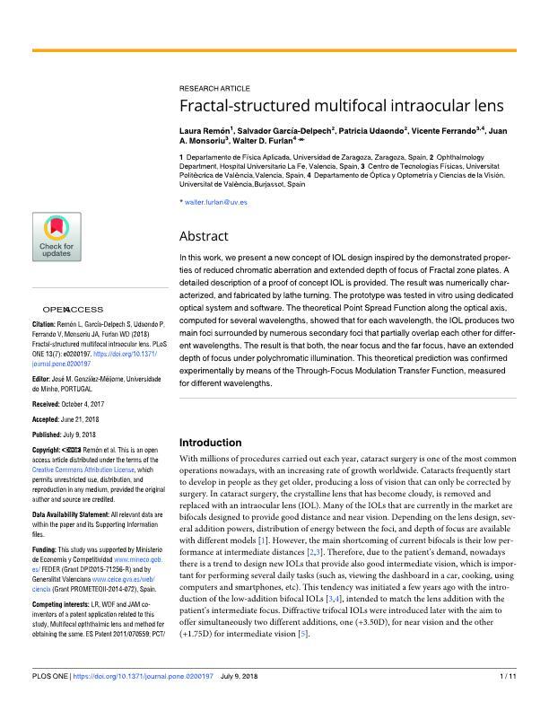 Fractal-structured multifocal intraocular lens