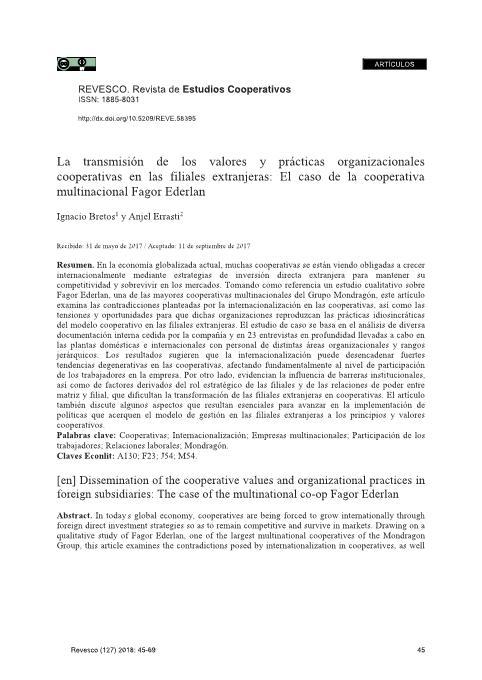 La transmisión de los valores y prácticas organizacionales cooperativas en las filiales extranjeras: El caso de la cooperativa multinacional Fagor Ederlan