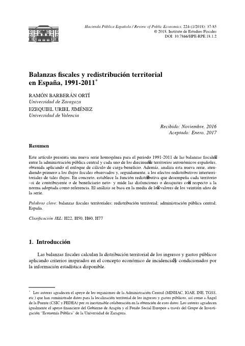 Balanzas fiscales y redistribución territorial en España, 1991-2011