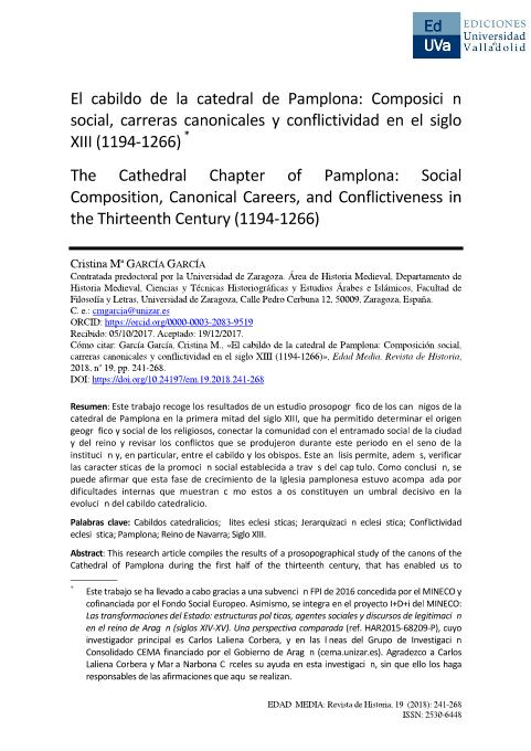 El cabildo de la catedral de Pamplona: Composición social, carreras canonicales y conflictividad en el siglo XIII (1194-1266)