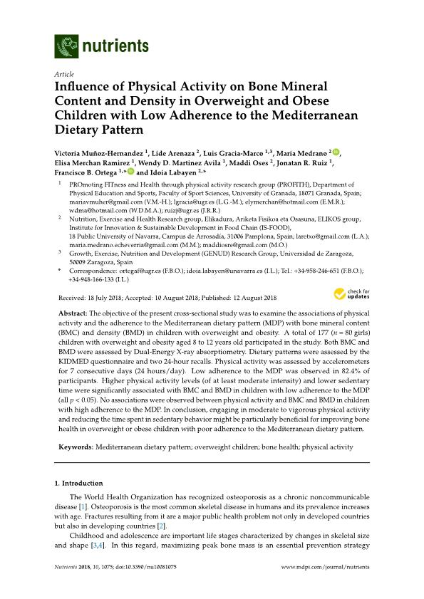 Influence of physical activity on bone mineral content and density in overweight and obese children with low adherence to the mediterranean dietary pattern