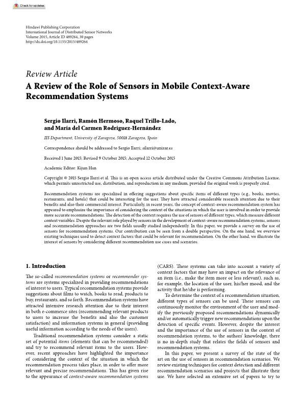 A review of the role of sensors in mobile context-aware recommendation systems