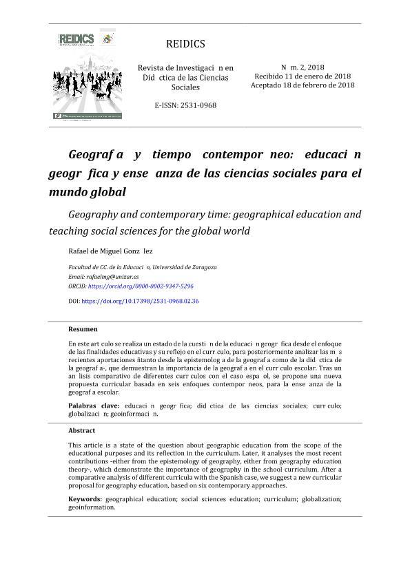 Geografía y tiempo contemporáneo: educación geográfica y enseñanza de las ciencias sociales para el mundo global