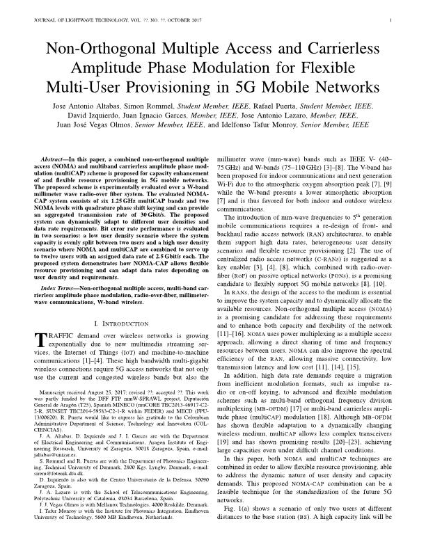 Nonorthogonal multiple access and carrierless amplitude phase modulation for flexible multiuser provisioning in 5G mobile networks