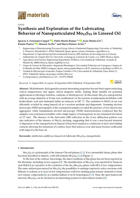 Synthesis and exploration of the lubricating behavior of nanoparticulated Mo15S19 in linseed oil