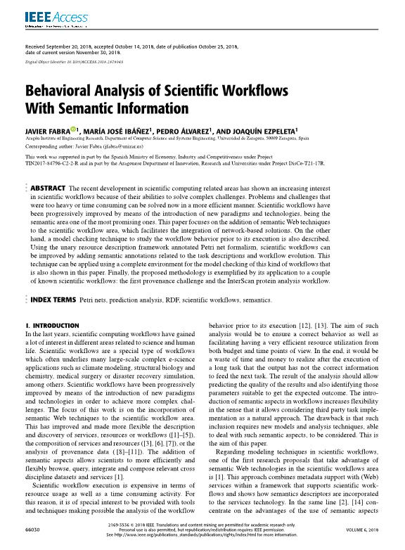 Behavioral analysis of scientific workflows with semantic information