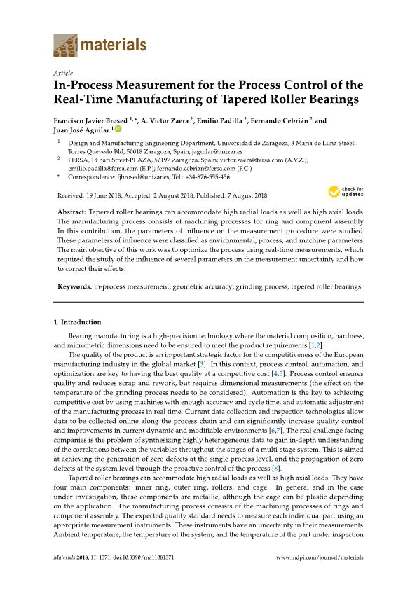 In-process measurement for the process control of the real-time manufacturing of tapered roller bearings