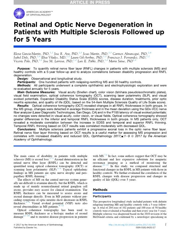 Retinal and Optic Nerve Degeneration in Patients with Multiple Sclerosis Followed up for 5 Years
