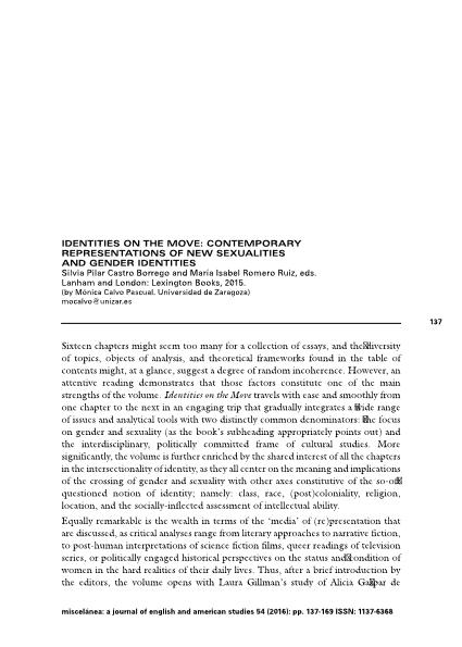 Identities on the Move: Contemporary Representations of New Sexualities and Gender Identities. Silvia Pilar Castro Borrego and María Isabel Romero Ruiz, eds.