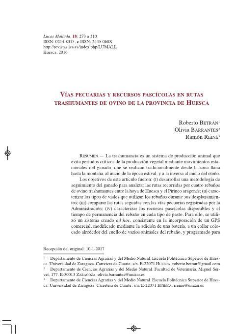 Vías pecuarias y recursos pascícolas en rutas trashumantes de ovino de la provincia de Huesca