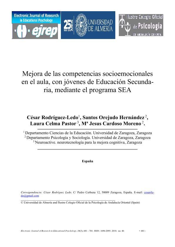 Mejora de las competencias socioemocionales en el aula, con jóvenes de Educación Secundaria, mediante el programa SEA