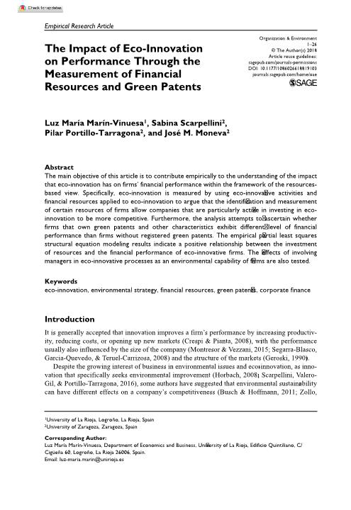 The Impact of Eco-Innovation on Performance Through the Measurement of Financial Resources and Green Patents
