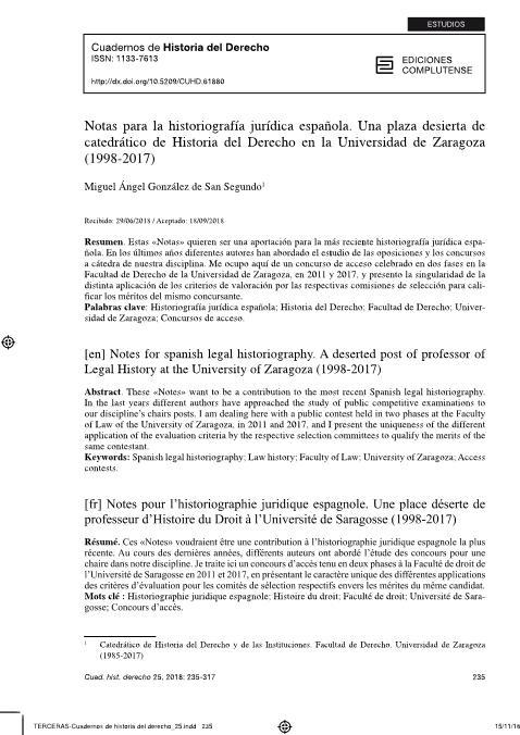 Notas para la historiografía jurídica española. Una plaza desierta de catedrático de Historia del Derecho en la Universidad de Zaragoza (1998-2017)