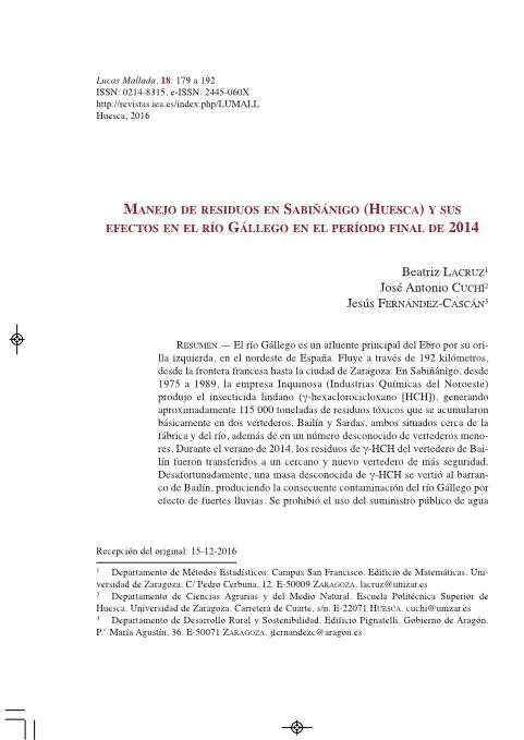 Manejo de residuos en Sabiñánigo (Huesca) y sus efectos en el río Gállego en el período final de 2014