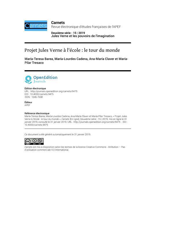 Projet Jules Verne à l'école : le tour du monde