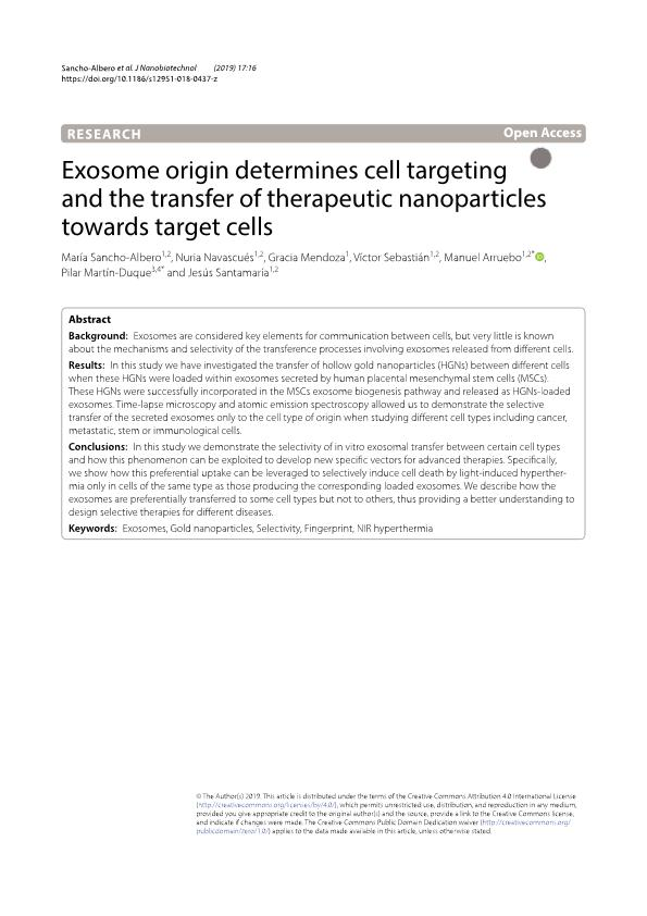 Exosome origin determines cell targeting and the transfer of therapeutic nanoparticles towards target cells