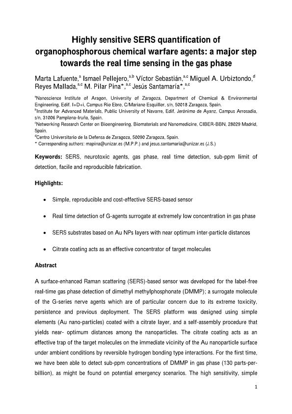 Highly sensitive SERS quantification of organophosphorous chemical warfare agents: A major step towards the real time sensing in the gas phase
