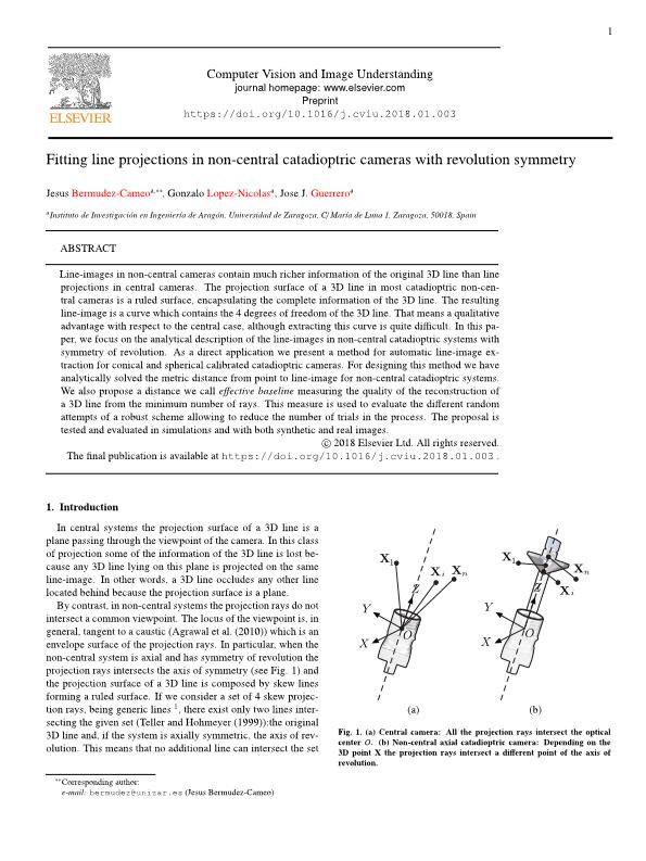 Fitting line projections in non-central catadioptric cameras with revolution symmetry