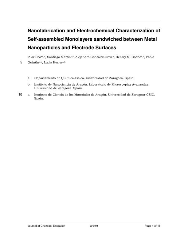 Nanofabrication and Electrochemical Characterization of Self-Assembled Monolayers Sandwiched between Metal Nanoparticles and Electrode Surfaces