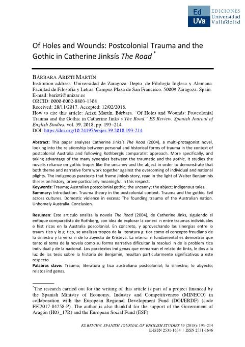 Of Holes and Wounds: Postcolonial Trauma and the Gothic in Catherine Jinks's The Road