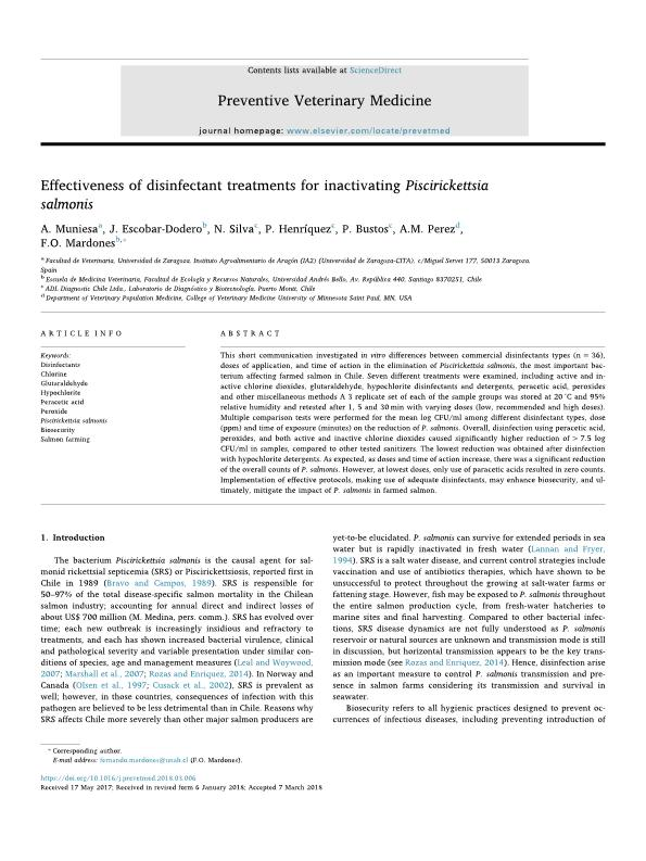 Effectiveness of disinfectant treatments for inactivating Piscirickettsia salmonis
