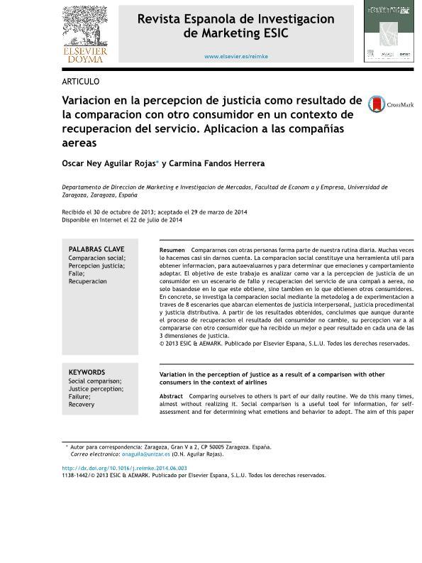 Variación en la percepción de justicia como resultado de la comparación con otro consumidor en un contexto de recuperación del servicio. Aplicación a las compañías aéreas