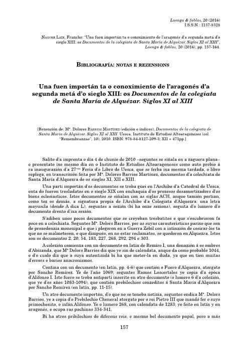 Una fue importán ta o conocimiento de l'aragonés d'a segunda metá d'o siglo XIII: os Documentos de la colegiata de Santa María de Alquézar. Siglos XI al XIII