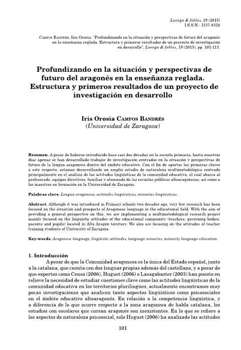 Profundizando en la situación y perspectivas de futuro del aragonés en la enseñanza reglada. Estructura y primeros resultados de un proyecto de investigación en desarrollo