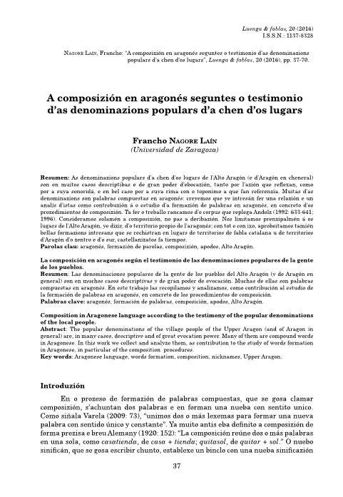 A composizión en aragonés seguntes o testimonio d'as denominazions populars d'an chen d'os lugars