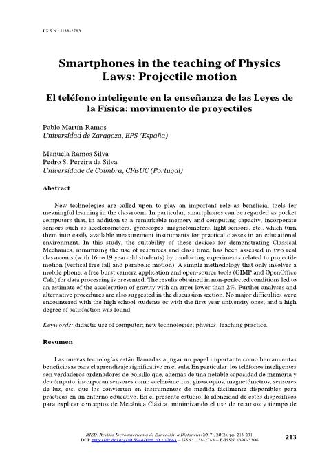 Smartphones in the teaching of Physics Laws: Projectile motion