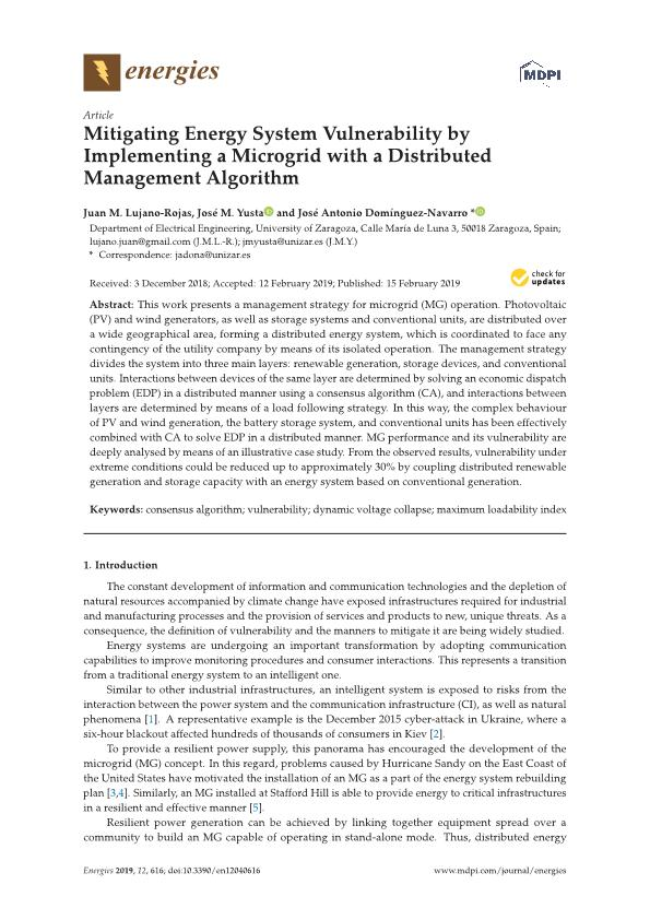 Mitigating energy system vulnerability by implementing a microgrid with a distributed management algorithm