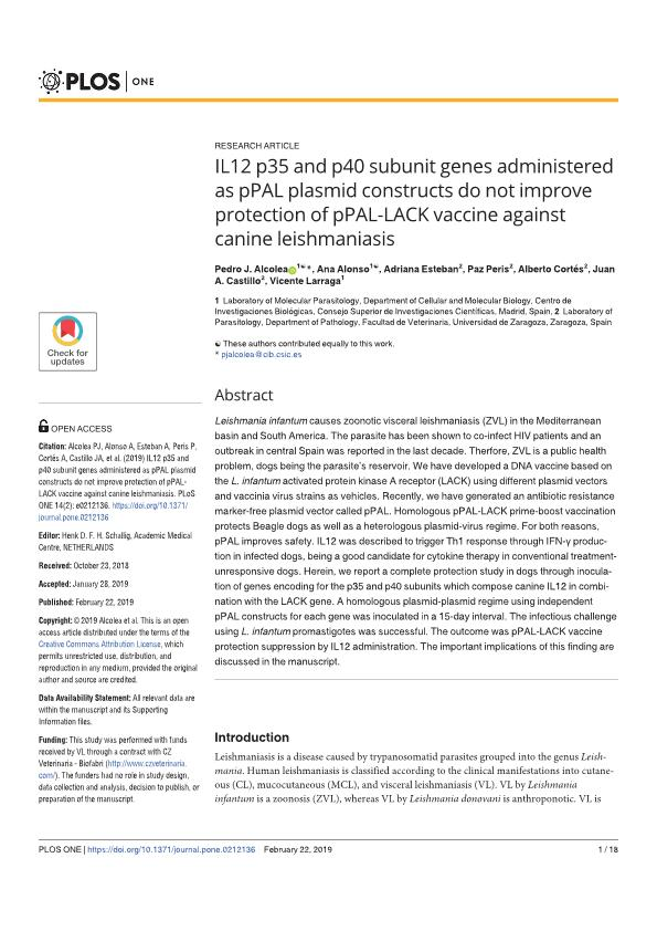 IL12 p35 and p40 subunit genes administered as pPAL plasmid constructs do not improve protection of pPAL-LACK vaccine against canine leishmaniasis