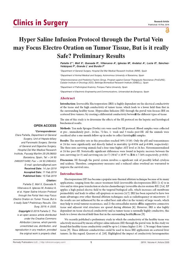 hypersaline infusion protocol through the portal vein may focus electroporation on tumor tissue, but is it really safe? Ppreliminary results