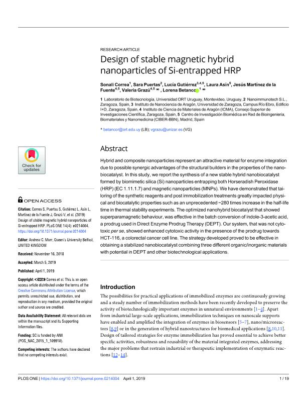 Design of stable magnetic hybrid nanoparticles of Si-entrapped HRP