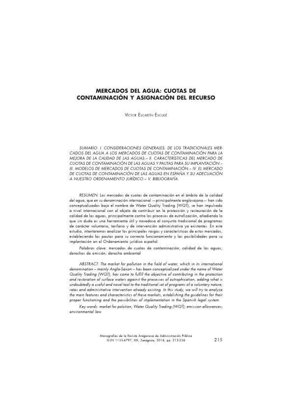 Mercados del agua: cuotas de contaminación y asignación del recurso