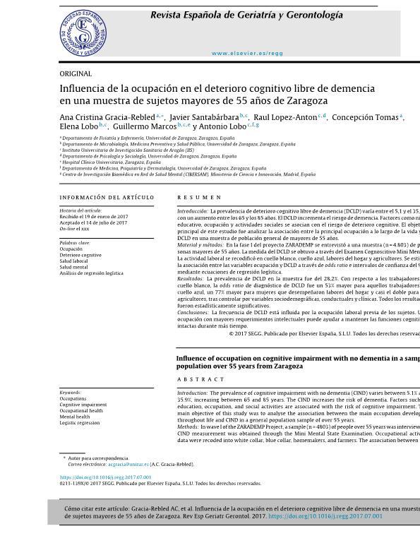 Influencia de la ocupación en el deterioro cognitivo libre de demencia en una muestra de sujetos mayores de 55 años de Zaragoza