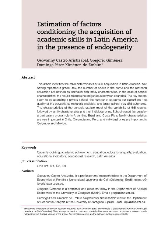 Estimation of factors conditioning the acquisition of academic skills in Latin America in the presence of endogeneity