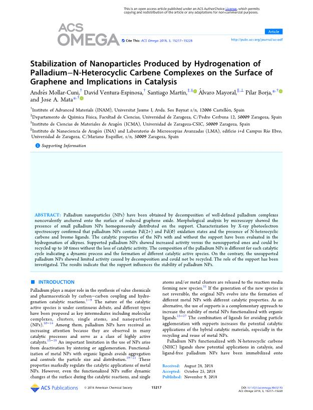 Stabilization of nanoparticles produced by hydrogenation of palladium-n-heterocyclic carbene complexes on the surface of graphene and implications in catalysis