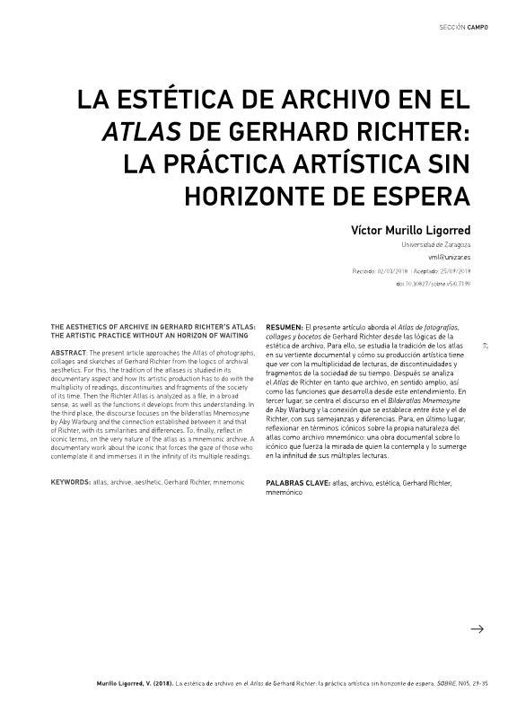 La estética de archivo en el atlas de Gerhard Richter: la práctica artística sin horizonte de espera