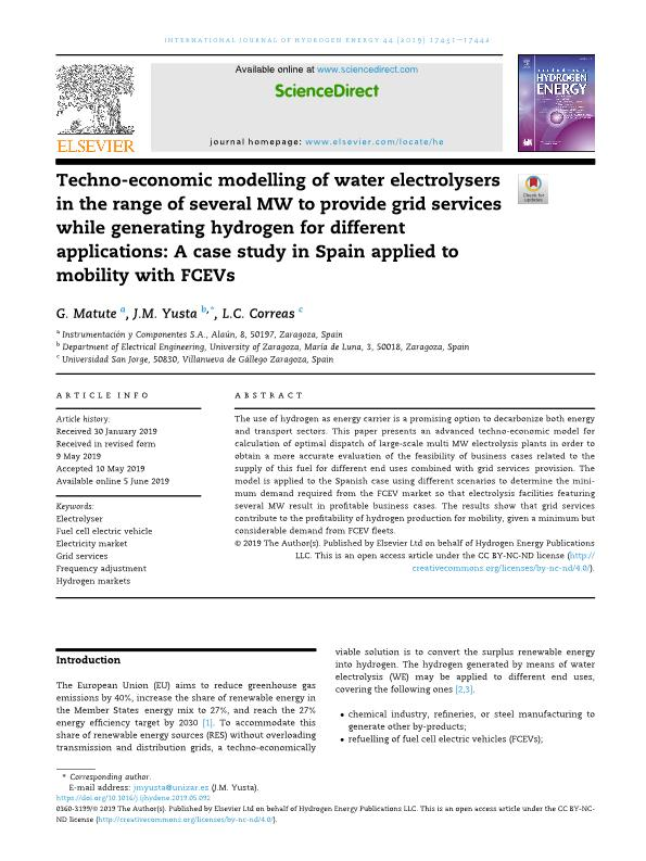 Techno-economic modelling of water electrolysers in the range of several mw to provide grid services while generating hydrogen for different applications: a case study in spain applied to mobility with fcevs