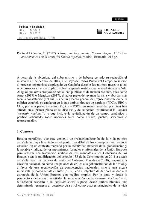 """Recensión a Prieto del Campo, c. (2017): """"Clase, pueblo y nación. nuevos bloques históricos antisistémicos en la crisis del estado español"""", Madrid, Brumaria."""