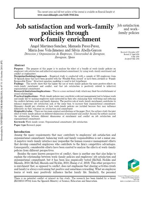 Job satisfaction and work–family policies through work-family enrichment