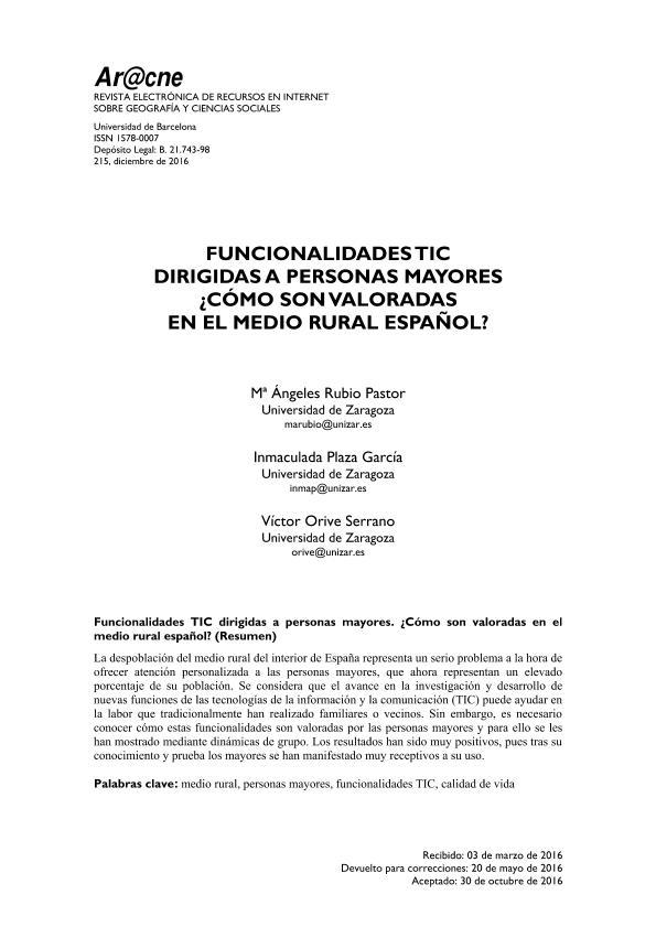 Funcionalidades TIC dirigidas a personas mayores. ¿Cómo son valoradas en el medio rural español?