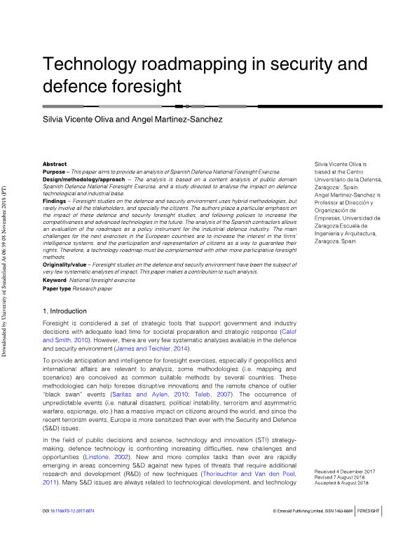 Technology roadmapping in security and defence foresight