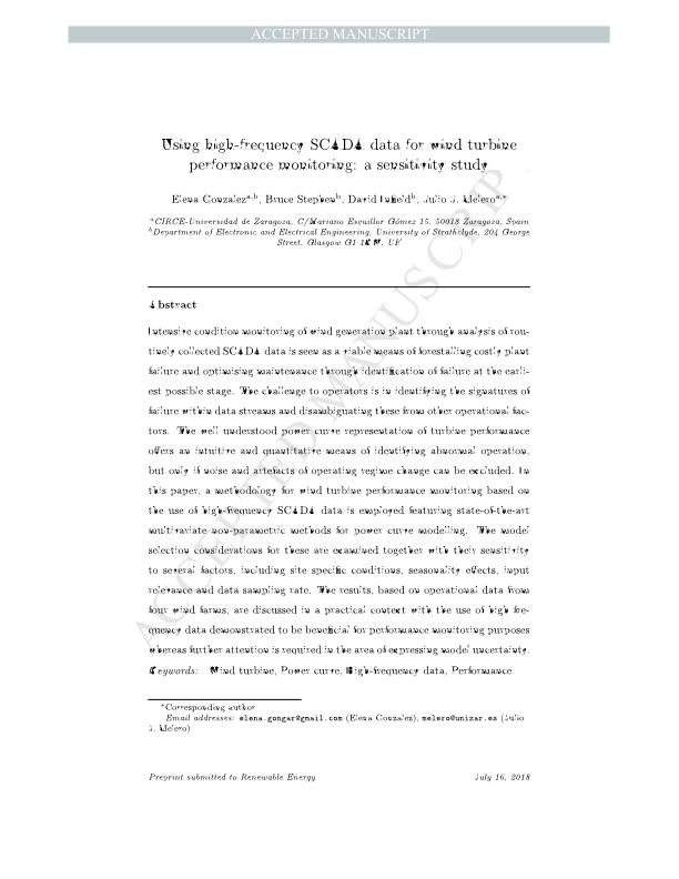 Using high-frequency SCADA data for wind turbine performance monitoring: A sensitivity study