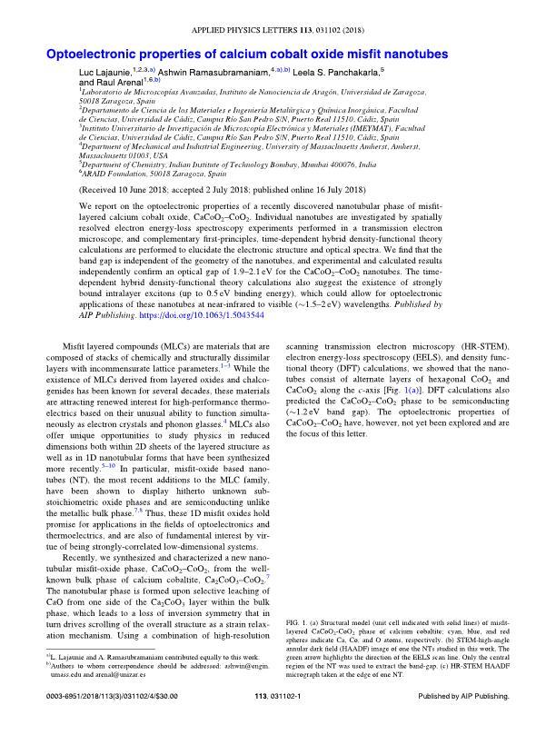 Optoelectronic properties of calcium cobalt oxide misfit nanotubes