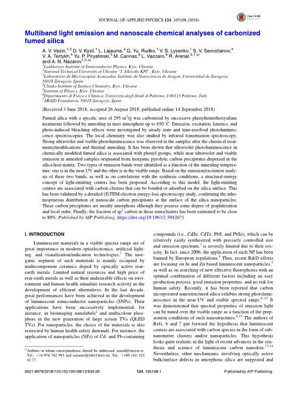 Multiband light emission and nanoscale chemical analyses of carbonized fumed silica