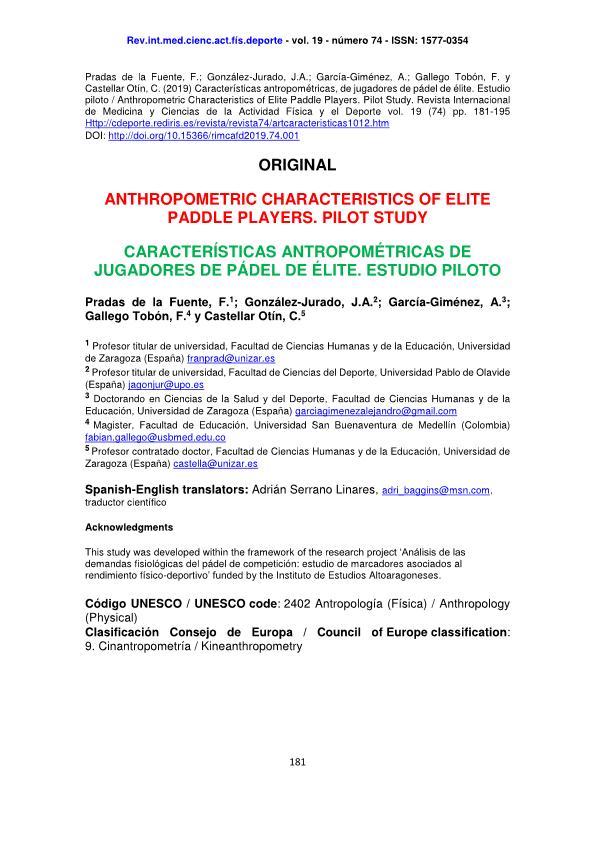 Anthropometric characteristics of elite paddle players. pilot study